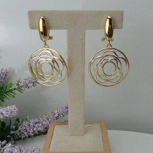 Image 1 - Yuminglai 24K Dubai altın küpe İtalyan küpe kadınlar için bırak küpe FHK7961