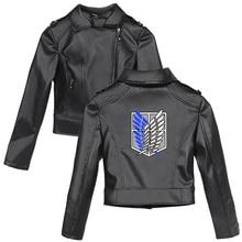 2021 New Women Artificial Leather Jacket Attack on Titan Women Short PU Jacket Motorcycle Crop Tops Fashion Slim Black Jackets