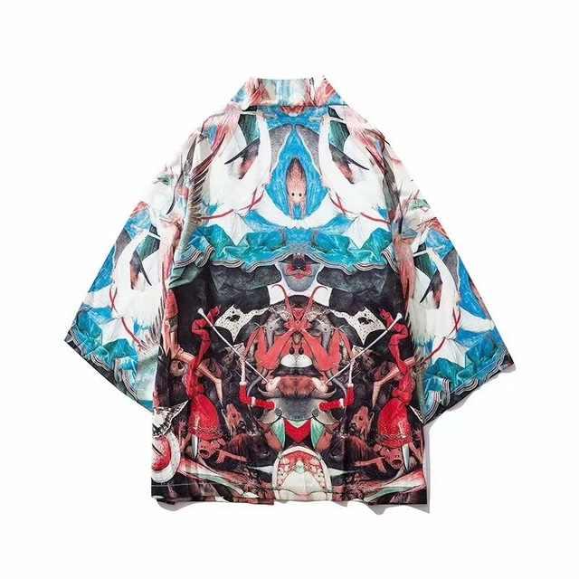 سترة كيمونو مطبوعة قميص رجالي ياباني تقليدي بلوزة بنمط صيني ملابس يوكاتا للرجال ملابس هاوري أوبي ملابس الساموراي كيمونو