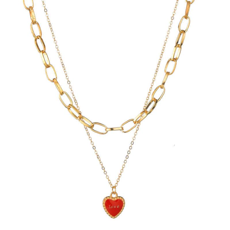 أنيقة متعدد طبقة سلسلة قلادة لطيف الحيوانات قذيفة الأحمر القلب الصليب قلادة القلائد النساء المسيحي مجوهرات هدية عيد ميلاد