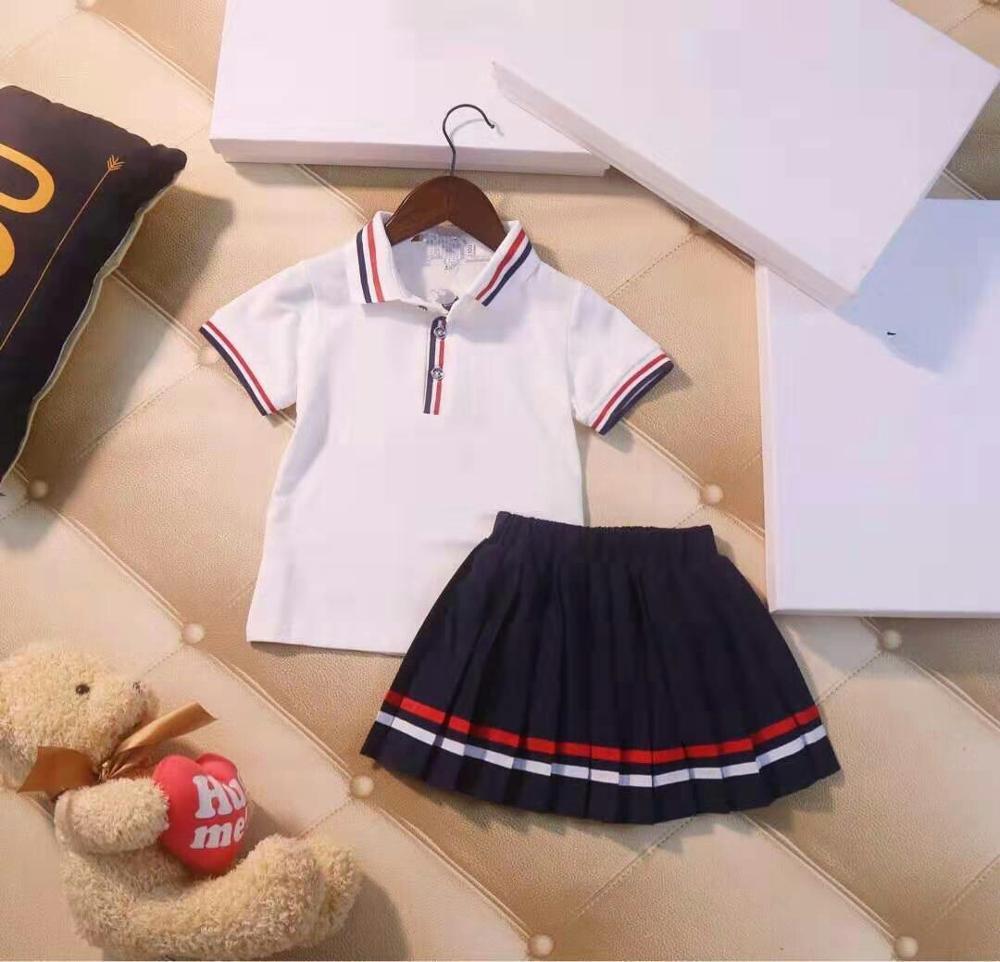Filles robe 2019 nouvelle marque été princesse robe 2 pièces ensemble enfants vêtements t-shirt + jupe vêtements ensemble 3-7Y #0085