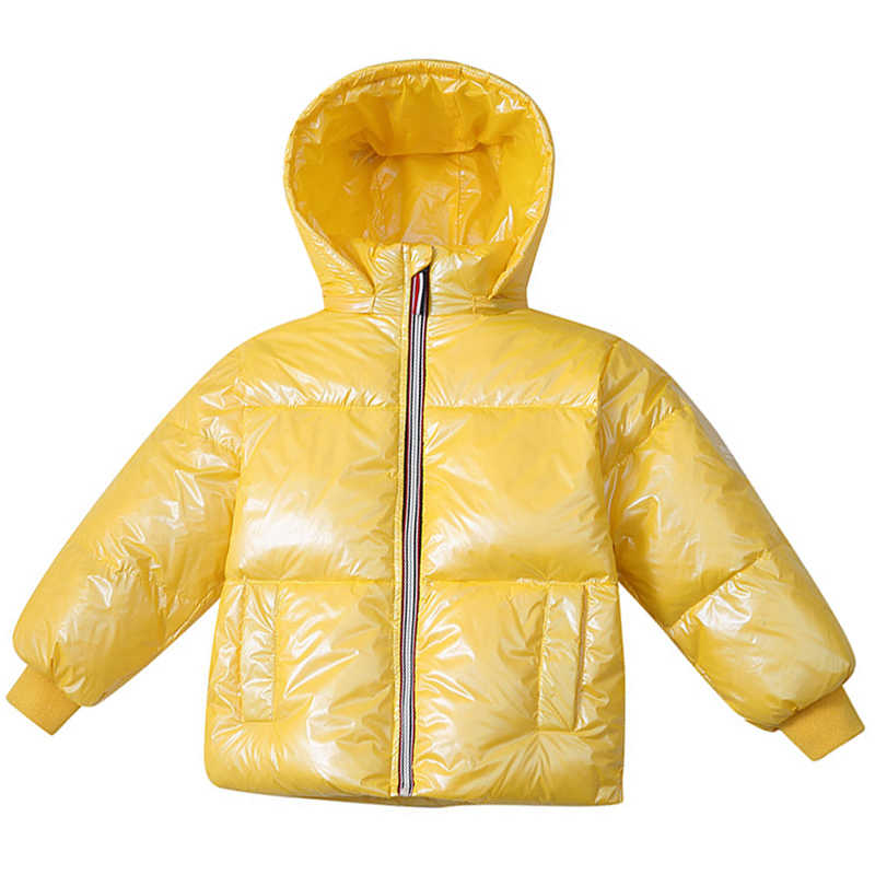 4-12 y children's fashion new kids down jacket solid color stand collar glossy coat boy girl white duck down children's clothes