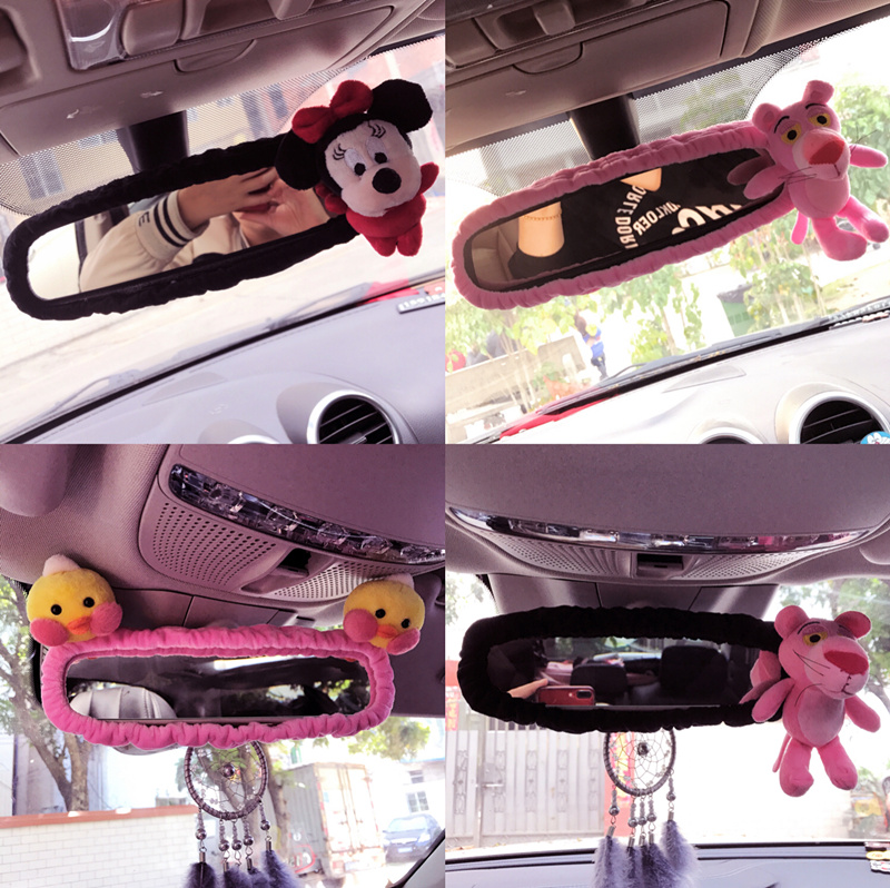 Rearview mirror cover New cute bear rabbit chicken rear view mirror set cute cartoon Korean mirror safety belt cover car interio