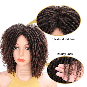 Image 2 - AISI HAIR Soft Short Synthetic Wigs for Black Women 14 inch Dreadlock Ombre Burg Crochet Twist Hair Heat Resistant Fiber