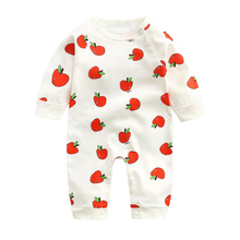 LZH Spring Infant Clothing Cotton Strawberry Print Baby Rompers for Baby Jumpsuits Newborn