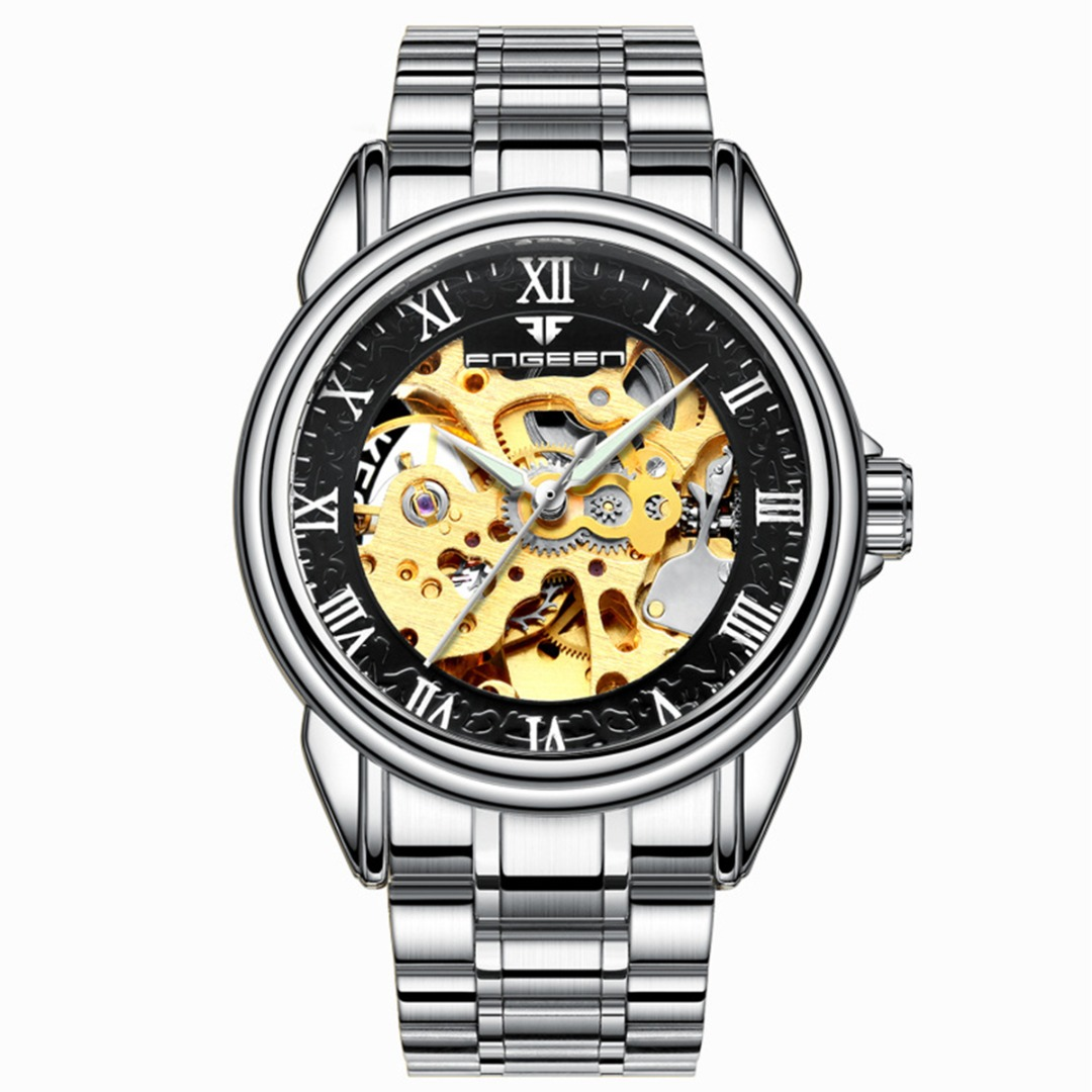 H76c07175602447ab9c51a33a9c78cf01N Shellhard1pc Men's Luxury Black Skeleton Leather Watch Sport Automatic Mechanical Stainless Steel Wrist Watch Montre Homme