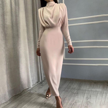 InstaHot Elegant Women Dress Stand Collar Slim Waist Solid Blue Ankle Length Autumn Long Sleeve Casual Party Dress 2020 Fashion