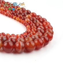 Natural Stone Orange Red Agates Carnelian Round Gem Loose Beads 15 Strand 4 6 8 10 12 14 16 MM Pick Size For DIY Jewelry Making