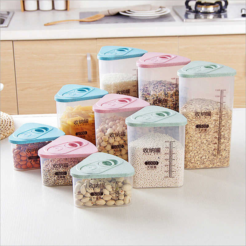 Refrigerador de almacenamiento de alimentos caja de plástico contenedor de alimentos grano arroz caja de almacenamiento de cereales de grano grueso caja de almacenamiento de cocina