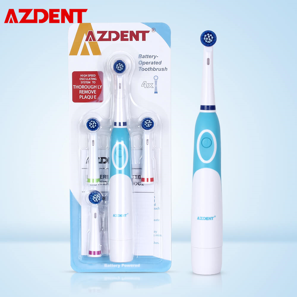 AZDENT Rotating Electric Toothbrush Battery Power with 4 Brush Heads Oral Hygiene Care No Rechargeable Tooth Brush Oral Cleaning image