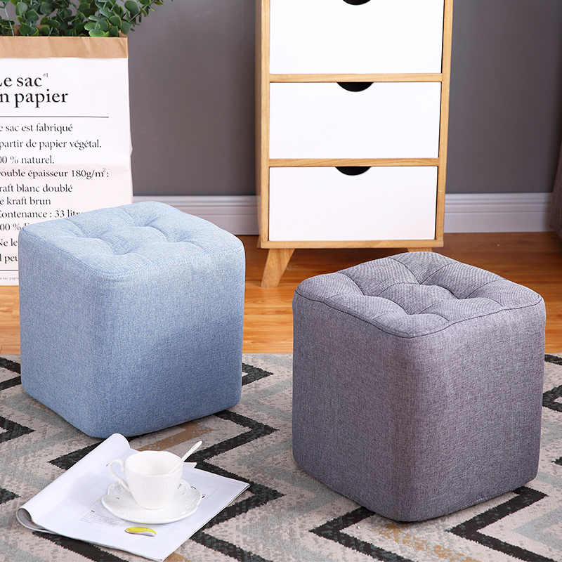 Small Wood Bench Creative Lazy Man Square Stools Living Room Couch  Mid Century Bench Nordic Chair Silla Para Maquillaje