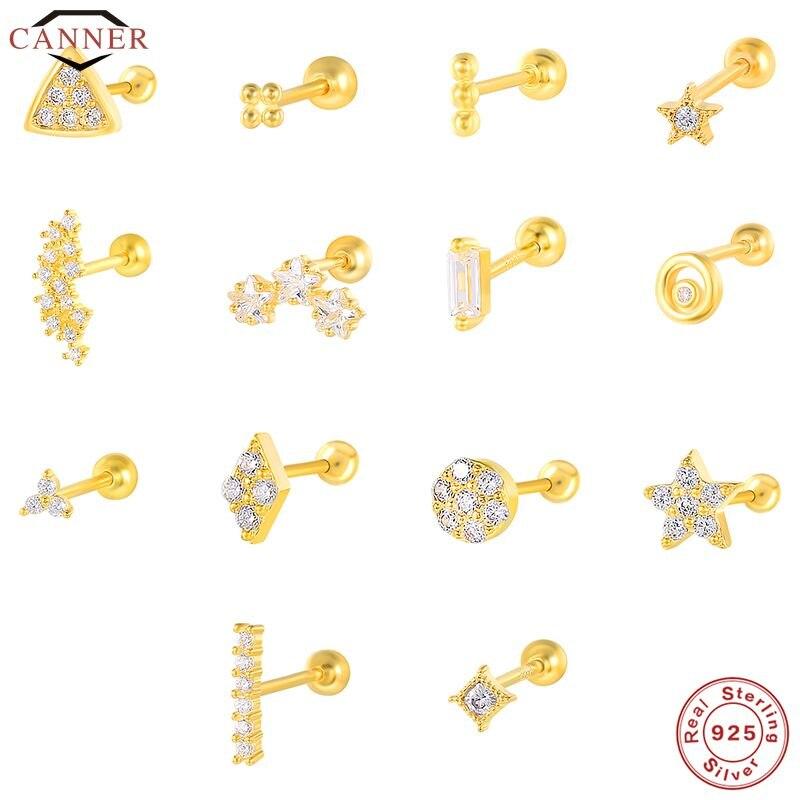 EINDOSER 1 Paar Echt 925 Sterling Silber Stud Ohrringe für Frauen Piercing Knorpel Ohrring Minimalistischen Kleine Nette Ohrringe Schmuck