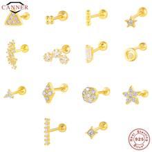 CANNER 1 paio di orecchini a bottone in vero argento Sterling 925 per donne Piercing cartilagine orecchino minimalista piccoli orecchini carini gioielli