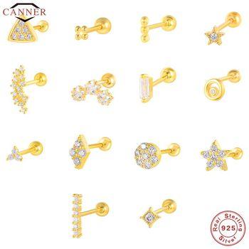 CANNER 1 Pair Real 925 Sterling Silver Stud Earrings for Women Piercing Cartilage Earring Minimalist Small Cute Earings Jewelry