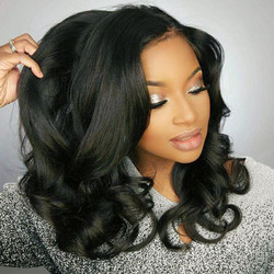 370 Lace Frontal Wig Short Wave Brazilian Remy Human Hair Wigs With Baby Hair  Pre Plucked Deep Part