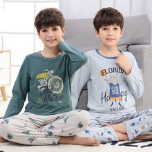 Adolescentes pijamas manga longa 100% algodão pijamas grandes crianças conjuntos de roupas dos desenhos animados meninos pijamas para o menino 6 8 10 12 14 16 anos