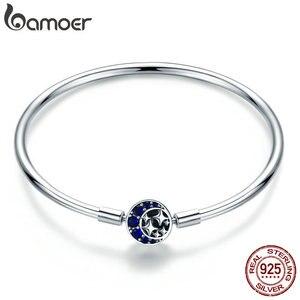 Image 1 - BAMOER Echtem 100% 925 Sterling Silber Blau CZ Mond und Sterne Armband & Armreifen für Frauen Sterling Silber Schmuck S925 SCB080