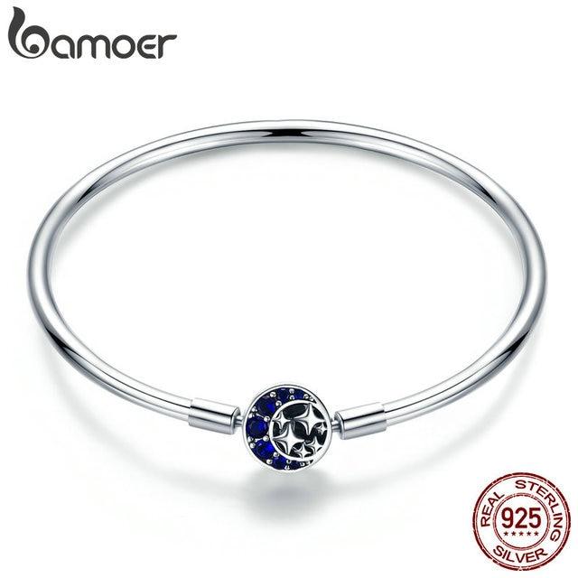 BAMOER Echtem 100% 925 Sterling Silber Blau CZ Mond und Sterne Armband & Armreifen für Frauen Sterling Silber Schmuck S925 SCB080