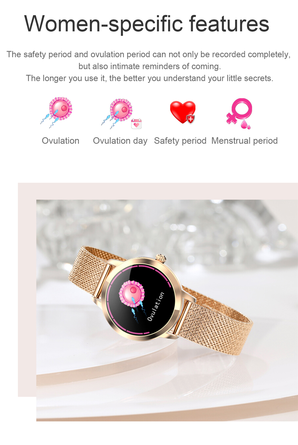 2021 Lovely Smart Watch For Women IP68 Waterproof Heart Rate BP Message Reminder LW10 Smartwatch Connect For Xiaomi Android IOS