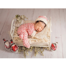 Newborn Photography Props Snowflake Onesies Hat Set with Doll Christmas Theme Baby Photo Fotografie Accessories