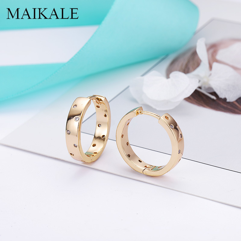 MAIKALE Trendy Gold Silver Color Small Stud Earrings Inlay Cubic Zirconia Simple Round Circle Earrings For Women Jewelry Gifts