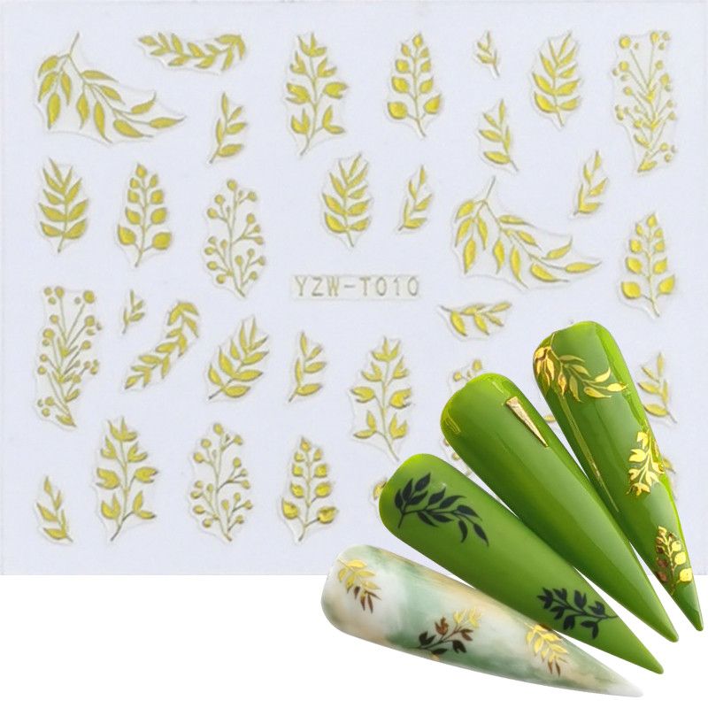 YZWLE 1 Sheet 2020 Nail Foil Slider 3D Sticker Black Gold Plant Leaf Flowers Decals For Manicure Wrap Flake Nail Art Accessories