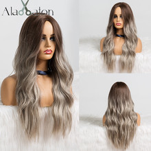 ALAN EATON Long Wavy Ombre Black Brown Ash Wig Wave Gray Synthetic Wig for Women Natural Middle Part Heat Resistant Hair Cosplay