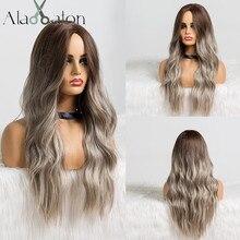 EATON perruque synthétique longue ondulée grise, noire, brune et grise pour femmes, perruque naturelle avec raie centrale résistante à la chaleur