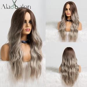 Image 1 - EATON perruque synthétique longue ondulée grise, noire, brune et grise pour femmes, perruque naturelle avec raie centrale résistante à la chaleur