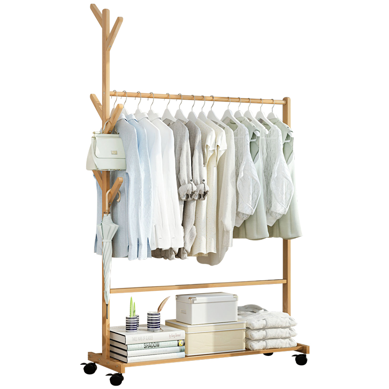 Clothes Rack Solid Wood Bedroom Hanging Clothes Shelf Floor-to-ceiling Room Clothes Storage Rack Home Simple Modern