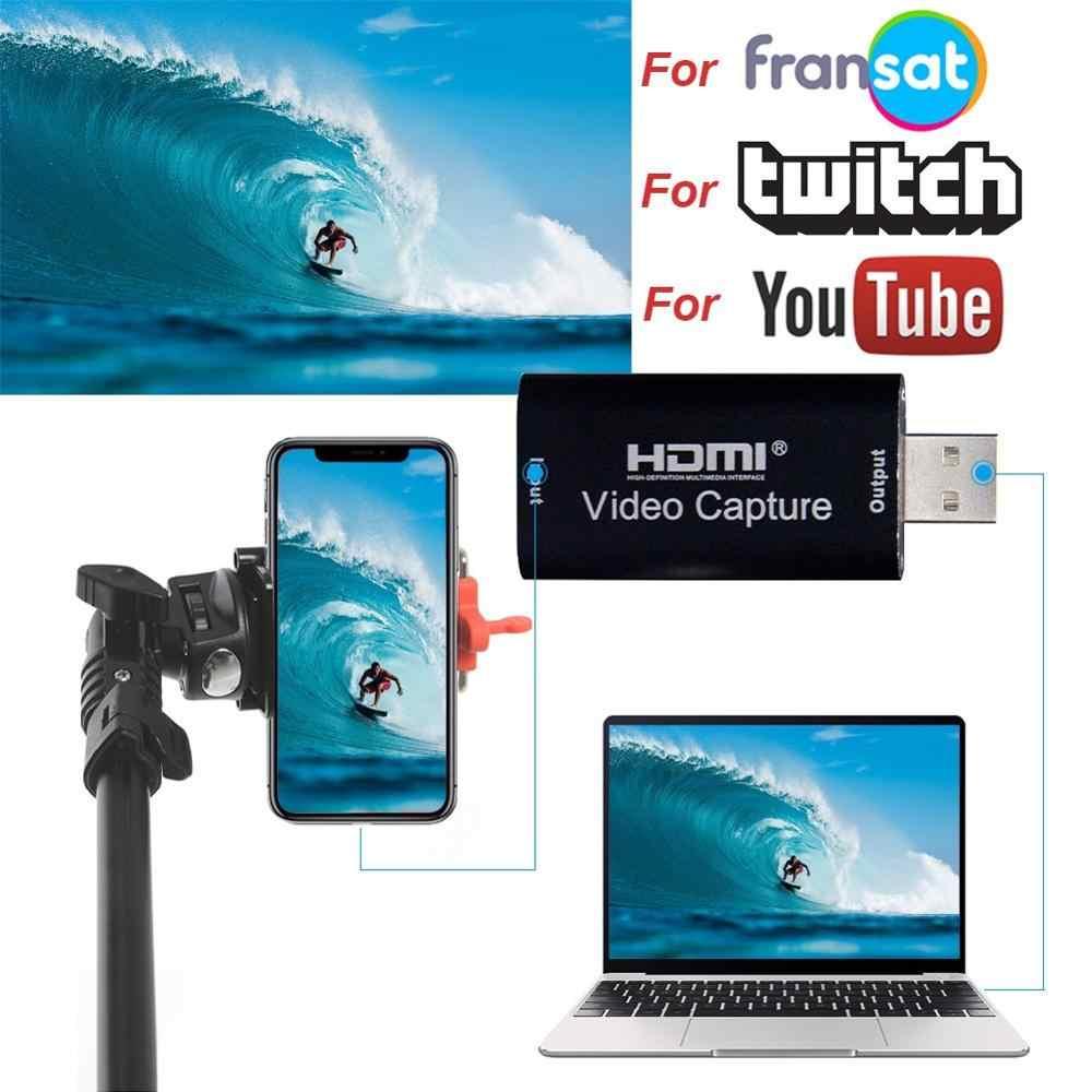미니 비디오 캡처 카드 USB 2.0 HDMI 비디오 레코더 어댑터 상자 게임 DVD 캠코더 HD 카메라 녹화 라이브 스트리밍 CSV