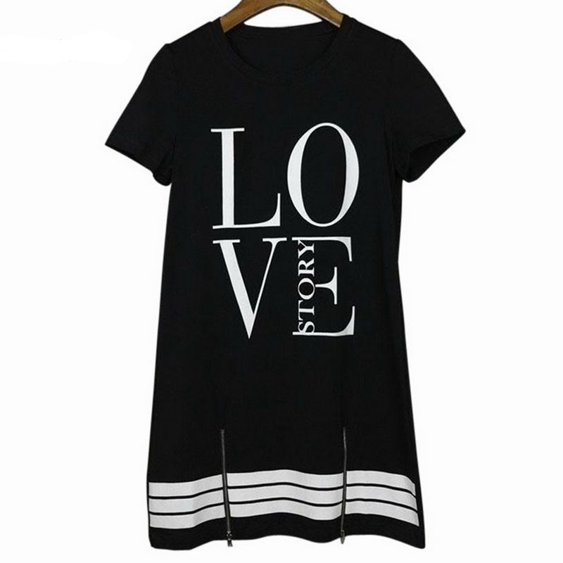 Summer O-Neck Long T-Shirt Dress Women Letter Print Dresses Short Sleeve Casual Loose Streetwear Sundress Plus Size S-5XL