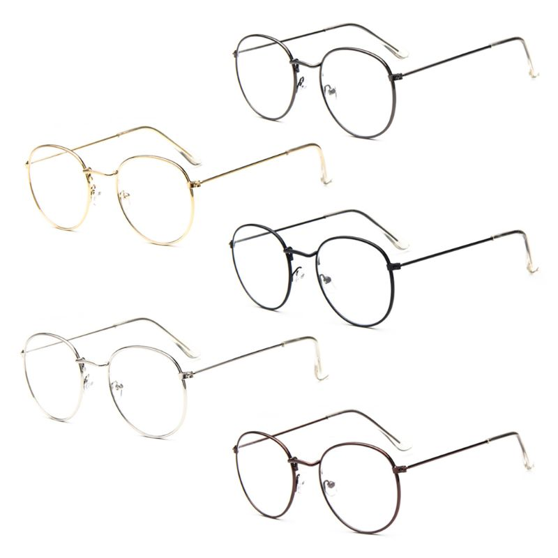 Unisex Simple Korean Style Retro Round Metal Glasses Frame For Women Men College Style Large Frame Eyewear Protector Case