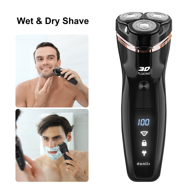 DONLIX Men Electronic Shaver USB Charger Waterproof Trimmer Wet and Dry 3D Floating Razor Washable Skin Protection Beard Machine - 5