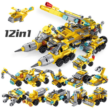 City Legolyed Military Series Engineering Vehicle Truck Building Block Set Toys For Children DIY Model Brick Kits Kids Gifts