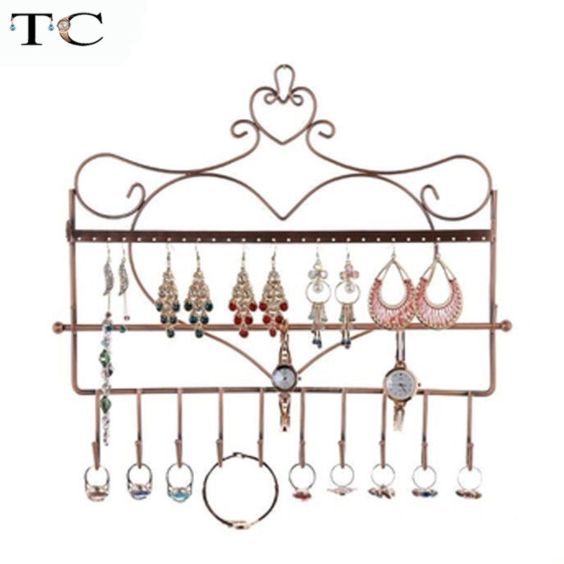 28 Holes Metal 10 Hooks Metal Wall Mounted Earring Necklace Bracelet Display Stand Metal Jewelry Storage Stand Earring Holder