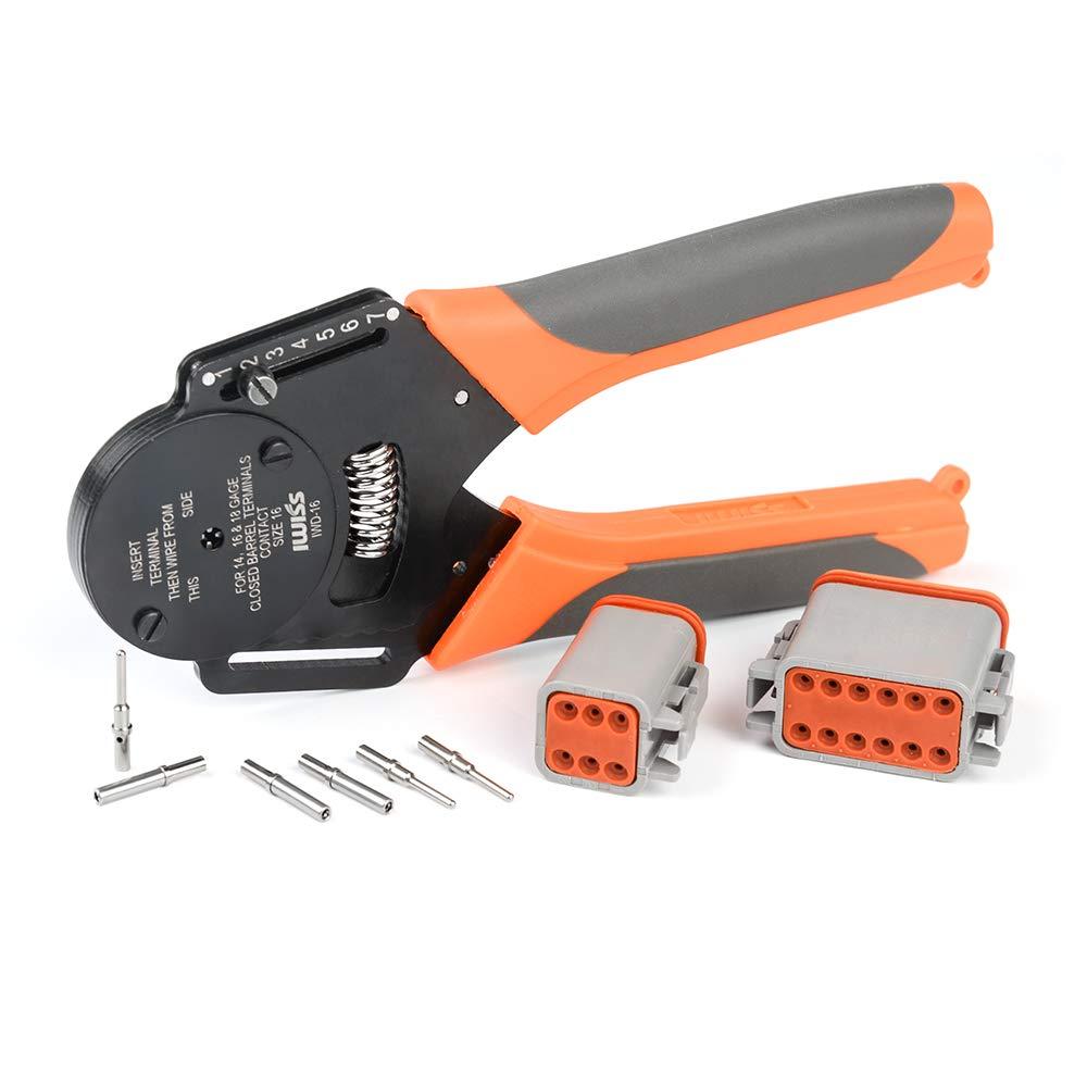 Tool Hand Crimping 4 Mini For 12 Type Impression IWISS Connectors Deutsch Way 20 IWD Closed Crimper Indent 8 16 Barrel Plier