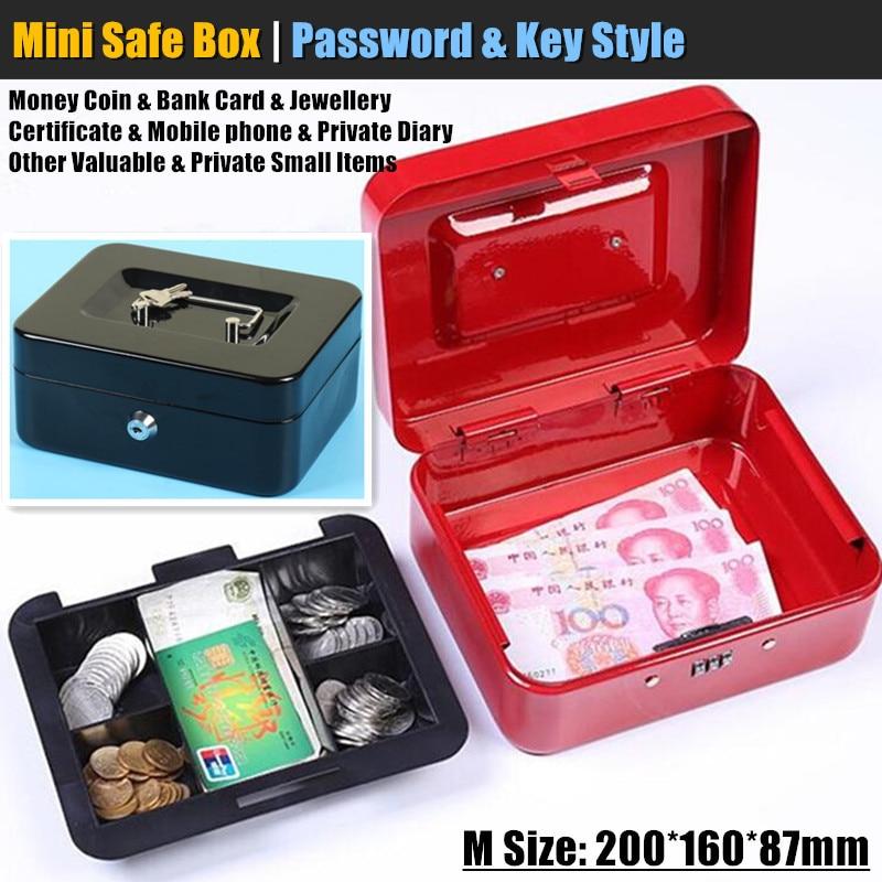 M:20x16cm Metall Mini Safe Versteckte Geheimnis Sichere Key Lock Geld Münze Bank Karte Schmuck Private Tagebuch lagerung Passwort Locker