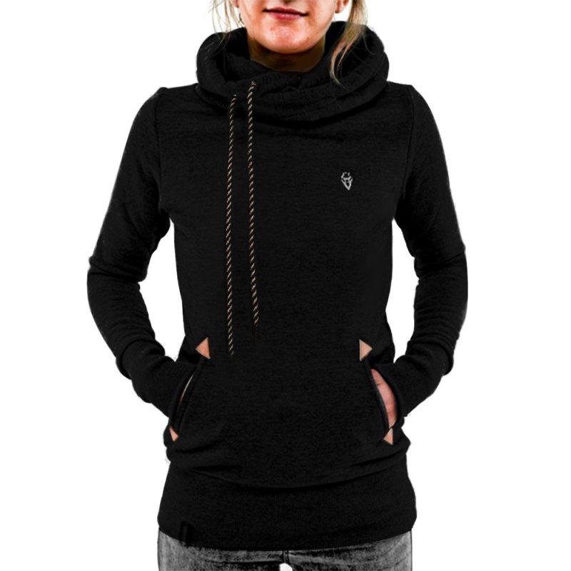 Scarf Collar Hoodies Women Long Sleeved Pullovers Hoodies Solid Casual Gray Hooded Sweatshirt Female Tops