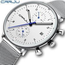 CRRJU Mens Watch Top Luxury Brand Men Stainless Steel WristWatch Mens Military waterproof Date Quartz watches relogio masculino