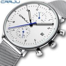 CRRJU Reloj de pulsera para hombre, de acero inoxidable, resistente al agua, con fecha, de cuarzo, masculino
