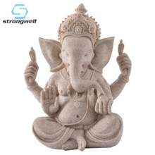 Strongwell Sandstone Elephant God Buddha Statue Lord Ganesha Sculptures Ganesh Figurines Hindu Buddhism Statues for Decoration
