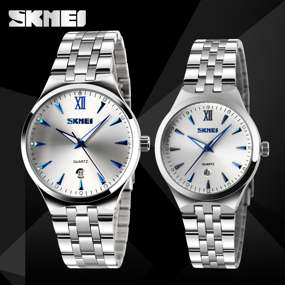 SKMEI Couple Watches Strap Women Lovers Luxury Fashion Stainless Quartz 9071 Calendar title=