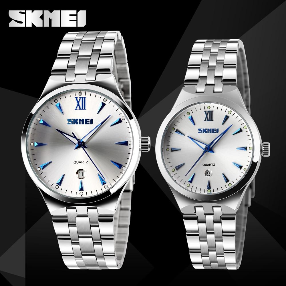 SKMEI Quartz Couple Watches Women Men Luxury Top Brand Calendar Watches Lovers Fashion Stainless Stee Strap Wristwatches 9071