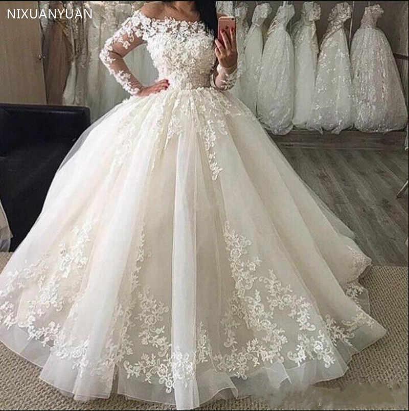 נפוח טול כבוי כתף כדור שמלות חתונה ארוך שרוולי תפור לפי מידה כלה שמלות עם תחרה אפליקציות בציר חתונה שמלה