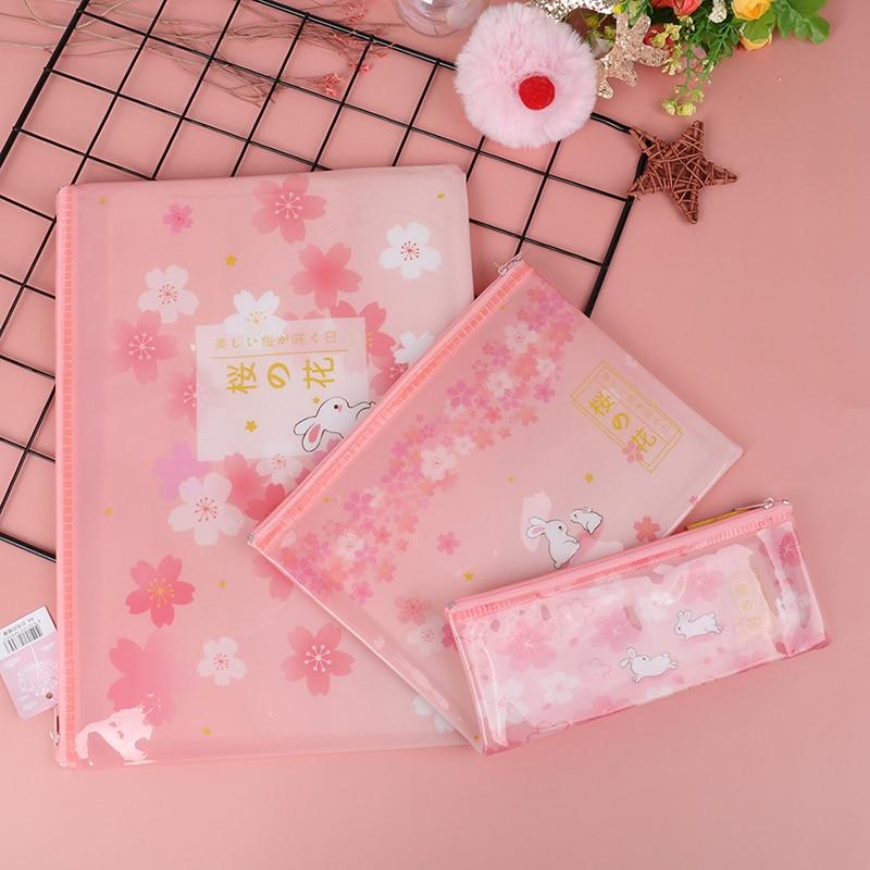 1 PCS File Bag Sakura Rabbit Zipper Mesh  Document Bag File Folder Stationery Filing