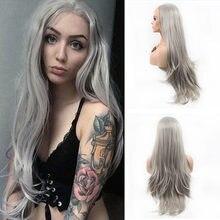 Perruque Lace Frontal wig synthétique Grise – SiNuo, Perruque de Cosplay naturelle ondulée Grise 13x3 pour femmes noires