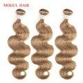 MOGUL HAAR Kleur 8 Ash Blonde Lichtbruin Indian Lichaam Wave Haar Weave Bundels 2/3/4 Bundels niet Remy Human Hair Extension