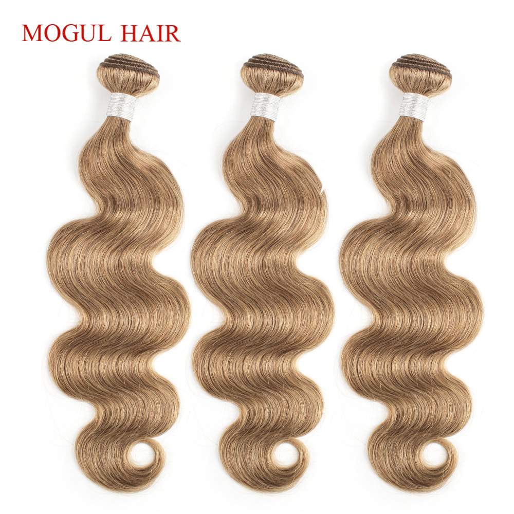 MOGUL HAIR Color 8 Ash Blonde Light Brown Indian Body Wave Hair Weave Bundles 2/3/4 Bundles Non Remy Human Hair Extension