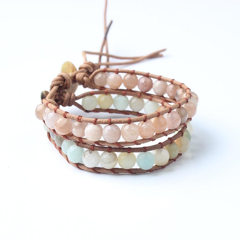 LanLi 6mm Natural Jewelry Twine sunstone and amazon stone bracelet A yoga...